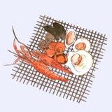 Ejemplos de los mariscos del vector fijados Sket dibujado mano del marisco de la parrilla Imagen de archivo libre de regalías