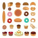 Ejemplos de los pasteles fijados stock de ilustración
