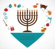 Ejemplos de los símbolos famosos para el día de fiesta judío Jánuca Imagen de archivo libre de regalías
