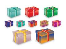 Ejemplos de lujo del caja-vector del regalo del vector Imagen de archivo libre de regalías
