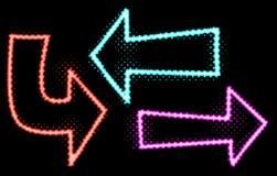 Ejemplos de neón de las flechas del resplandor stock de ilustración