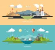 Ejemplos del concepto de la ecología fijados en estilo plano Imágenes de archivo libres de regalías
