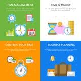 Ejemplos del concepto en el tema de la gestión de tiempo Imágenes del vector en estilo plano moderno libre illustration