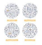 Ejemplos del garabato del desarrollo del App libre illustration