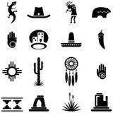 Ejemplos del icono del desierto del sudoeste stock de ilustración