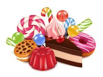 Ejemplos del postre Fondo con las tortas, la piruleta del caramelo de chocolate y los dulces hechos en casa Altas imágenes del re libre illustration