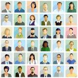 Ejemplos del retrato de la gente del grupo stock de ilustración