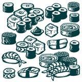 Ejemplos del sushi Fotos de archivo libres de regalías