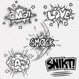 Ejemplos del vector de efectos sonoros cómicos stock de ilustración