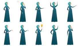 Ejemplos del vector de la mujer embarazada de los musulmanes fijados ilustración del vector