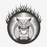 Ejemplos del vector de la quemadura del fuego de la cobra real de la serpiente stock de ilustración
