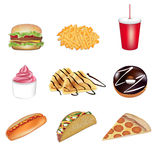 Ejemplos del vector de los alimentos de preparación rápida imagen de archivo libre de regalías