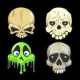 Ejemplos del vector del cráneo de Halloween stock de ilustración