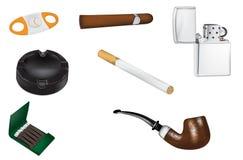 Ejemplos del vector el fumar y del tabaco Imagen de archivo