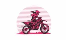 Ejemplos del vector del jinete de la mujer del motocrós stock de ilustración