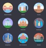 Ejemplos del vector del paquete de las ciudades del mundo stock de ilustración