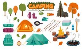 Ejemplos del vector del sistema del icono que acampan libre illustration