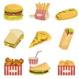 Ejemplos detallados realistas de los elementos del menú de los alimentos de preparación rápida Imagen de archivo