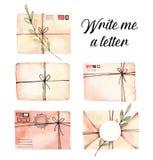 Ejemplos dibujados mano de la acuarela Sistema de sobres con la flora Fotografía de archivo libre de regalías