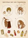 Ejemplos dibujados mano del cuidado del cabello Fotografía de archivo libre de regalías