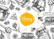 Ejemplos dibujados mano del marco de la miel del vector Tarro, abeja, panal ilustración del vector