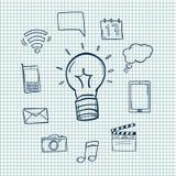 Ejemplos dibujados mano del vector Sistema de iconos sociales doodle Imagen de archivo libre de regalías