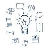 Ejemplos dibujados mano del vector Sistema de iconos sociales doodle Foto de archivo libre de regalías