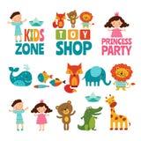 Ejemplos divertidos de niños y de animales Logotipos del vector para los niños ilustración del vector