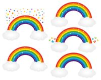 Ejemplos hermosos de los arco iris Iconos del vector fijados stock de ilustración