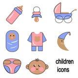 Ejemplos, iconos del ` s de los niños, accesorios del ` s de los niños, bebés Fotos de archivo libres de regalías