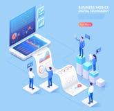 Ejemplos isométricos de la aplicación móvil del negocio stock de ilustración