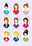 Ejemplos lindos de chicas jóvenes hermosas con diverso estilo de pelo Vector Fotos de archivo libres de regalías
