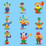 Ejemplos lindos de la historieta del vector de los caracteres del payaso Foto de archivo