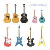Ejemplos lindos de las guitarras del vector fijados stock de ilustración