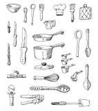 Ejemplos a mano del Cookware Fotos de archivo