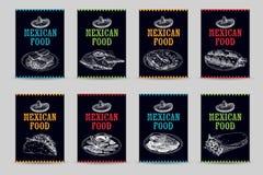 Ejemplos mexicanos dibujados mano del bosquejo de la comida del vector del vintage fijados Imagen de archivo libre de regalías