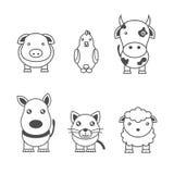 Ejemplos monocromáticos de animales ilustración del vector