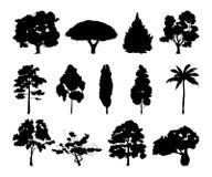 Ejemplos monocromáticos de diversas siluetas de los árboles ilustración del vector