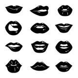Ejemplos monocromáticos de los labios femeninos hermosos y brillantes aislados en el fondo blanco stock de ilustración