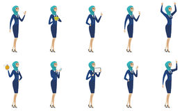 Ejemplos musulmanes jovenes del vector de la azafata fijados stock de ilustración
