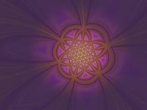 Ejemplos púrpuras poligonales radiantees coloridos del fondo del oro Imagenes de archivo