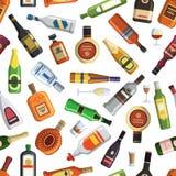 Ejemplos para la producción de la materia textil Modelo inconsútil con las botellas y los vidrios alcohólicos coloreados libre illustration