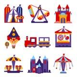 Ejemplos planos del diseño del vector del parque de atracciones Foto de archivo libre de regalías