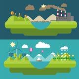 Ejemplos planos determinados del diseño con los iconos del ambiente, energía verde Fotos de archivo