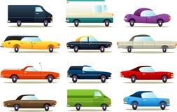 Ejemplos retros del icono del coche de la historieta Foto de archivo libre de regalías