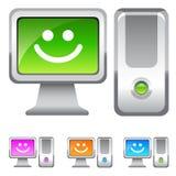Ejemplos sonrientes del ordenador Foto de archivo