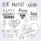 Ejemplos y tipografía del día de tarjetas del día de San Valentín Foto de archivo libre de regalías