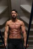 Ejercicio de Doing Heavy Weight del atleta en barrases paralelas Imagenes de archivo