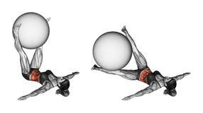 Ejercicio de Fitball Piernas del péndulo con el fitball hembra ilustración del vector