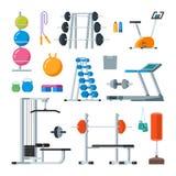 Ejercicio de la aptitud y del entrenamiento en gimnasio Sistema del vector de estilo plano de los iconos en el fondo blanco Imagen de archivo libre de regalías